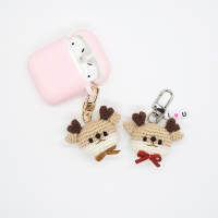 사슴 손뜨개 키링 휴대폰줄 브로치 인형