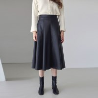 LEATHER PLEATS LONG SKT_BLACK