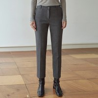 WARM SLIM STRAIGHT SLACKS_GRAY
