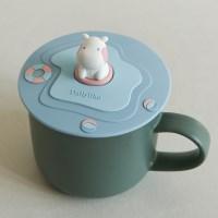 실리콘 머그 리드 - 02 Swimming hippo