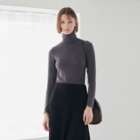 SOFT HIGH NECK KNIT_CHARCOAL