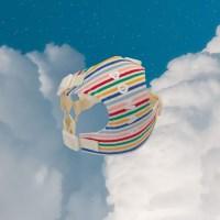 [이름 각인] Rainbow stripe harness (ivory)
