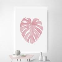 핑크몬스테라 나뭇잎 액자 식물 인테리어 그림
