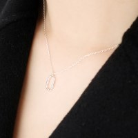 (92.5 silver) silver oval necklace