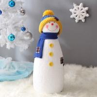 [데코봉봉]길쭉이 니트모자 눈사람(60cm블루)