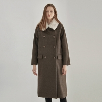 FUR DOUBLE LONG PEACOAT_BROWN
