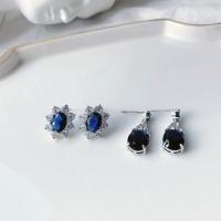 딥블루 영롱 큐빅 포인트 귀걸이_Deep blue is in your earring