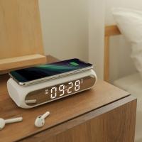 [무아스] Qi 무선충전 슬림미러 LED탁상시계