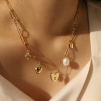 shining heart lock necklace