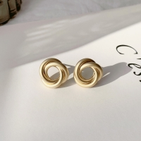 빈티지 앤틱 골드 링 귀걸이_vintage antique mat-gold earring