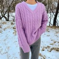 꽈배기 드롭숄더 브이넥니트 - knit(2609286)_(1532500)