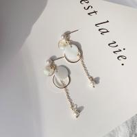 바닷빛 자개 화이트 진주 귀걸이_shell in the sea earring