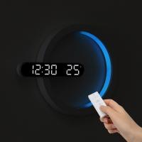 [무아스] 문라이트 듀얼 LED벽시계 무드등 온도 무선 리모컨