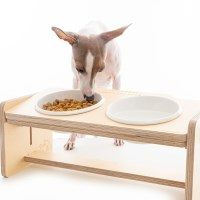 원목 강아지 도자기 밥그릇 물그릇 높이조절기능+문구각인