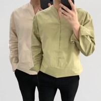 어깨넓어보이는 여름 얇은 면 오픈카라 V넥 셔츠남방