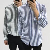 어깨넓어보이는 캐주얼 스트라이프 포켓 면 셔츠남방