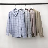 어깨넓어보이는 루즈핏 글렌 체크 오픈카라 셔츠남방