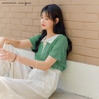 [커먼유니크] 미우 골지 컬러링 카라 1/2 니트