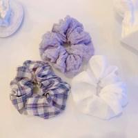 [BEST][3개세트][3color] 보라색 라벤더 체크 곱창 머리끈 세트