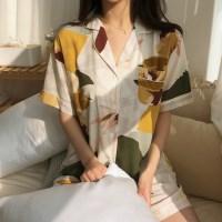인견 소재 플라워 홈웨어 세트 여름 잠옷