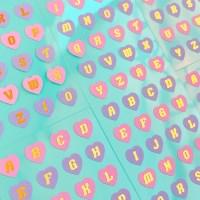 반짝반짝 Heart Alphabet Golden 칼선 스티커