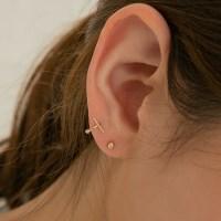 14k gold mini stick ring earring piercing (14K 골드)
