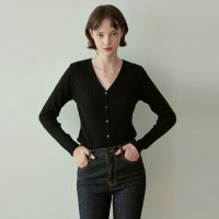 Y SLIM KNIT CARDIGAN_BLACK