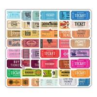 트래블 캠핑 노트북 여행가방 데코스티커 -  TICKET - 50매