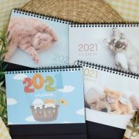 [1+1]2021년 강아지 고양이  일러스트 벽걸이 탁상 달력 캘린더