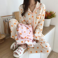 3color 요루면 귤 파자마 세트 긴팔 잠옷