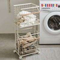 [한샘] 컴포트 와이어햄퍼 2단 빨래 세탁물 보관함 바구니