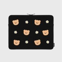 Dot flower bear-black-13inch notebook pouch(13인치_(1683726)