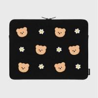 Dot flower bear-black-15inch notebook pouch(15인치_(1683723)