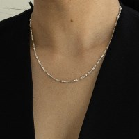 small ball chain necklace-silver
