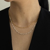 small ball chain necklace-gold