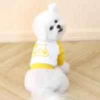 [ODD PET][ODD STUDIO] 따또 크레용 크롭 맨투맨 티셔츠 - 옐로우