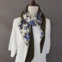 장미 꽃무늬 플라워 배색 데일리 면 스카프