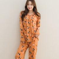 디즈니 여성 미키 피치기모 잠옷 상하세트 (오렌지)