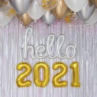 이니셜 hello 2021 신년파티 장식세트 골드톤