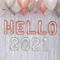 HELLO 2021 신년파티 장식세트 로즈골드톤