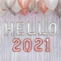 HELLO 2021 신년파티 장식세트 실버톤