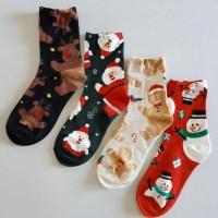 중목 긴 눈사람 루돌프 크리스마스 스니커즈 양말