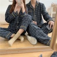 옐로우라인 체크 커플 파자마 잠옷