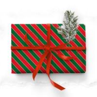 스트라이프 크리스마스 포장지 (2장)