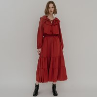 FREESIA RUFFLE LONG DRESS (RED)