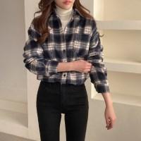 따뜻한 겨울 가을 체크 여자 루즈핏 캐주얼 셔츠 남방