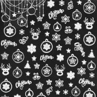 하얀 루돌프 크리스마스 네일데코스티커 겨울네일스티커