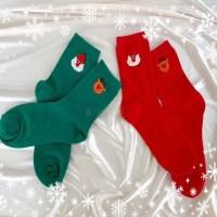 크리스마스 산타 그린 레드 중목 긴 학생 패션 양말