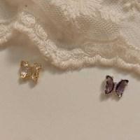 [봄밤달] 유리정원의 나비 써지컬바 피어싱 (귀걸이침 변경가능)