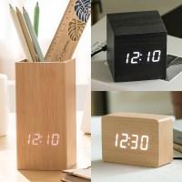 9종 우드 인테리어 LED 탁상시계 전자 알람 디지털 침실 무소음 시계